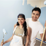couple painting a room